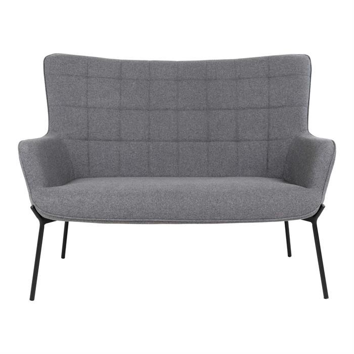 House Nordic – Glasgow – 2-personers sofa (grå/sort) –