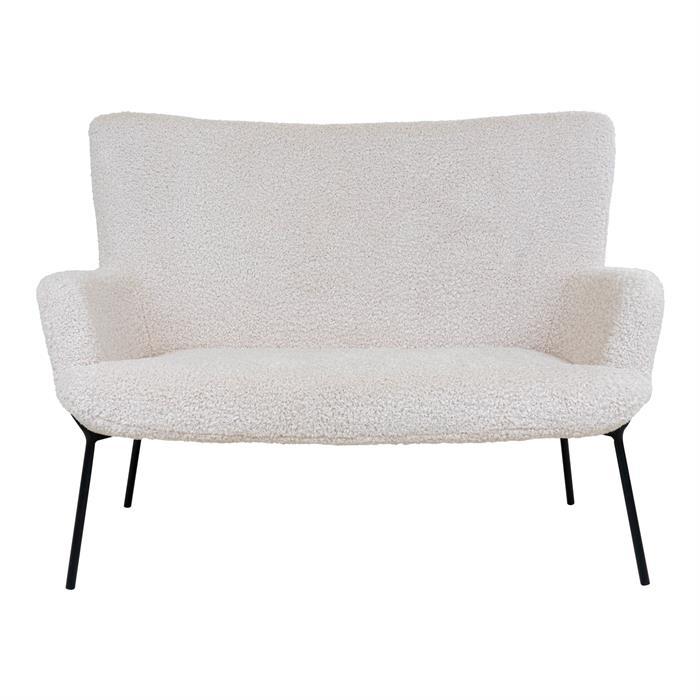 House Nordic – Glasgow – 2-personers sofa (lammeskind/sort) –
