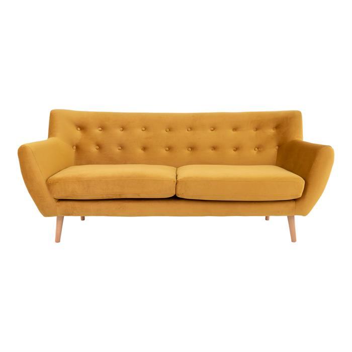 House Nordic – Monte – 3-personers sofa (sennepsgul/træ) –